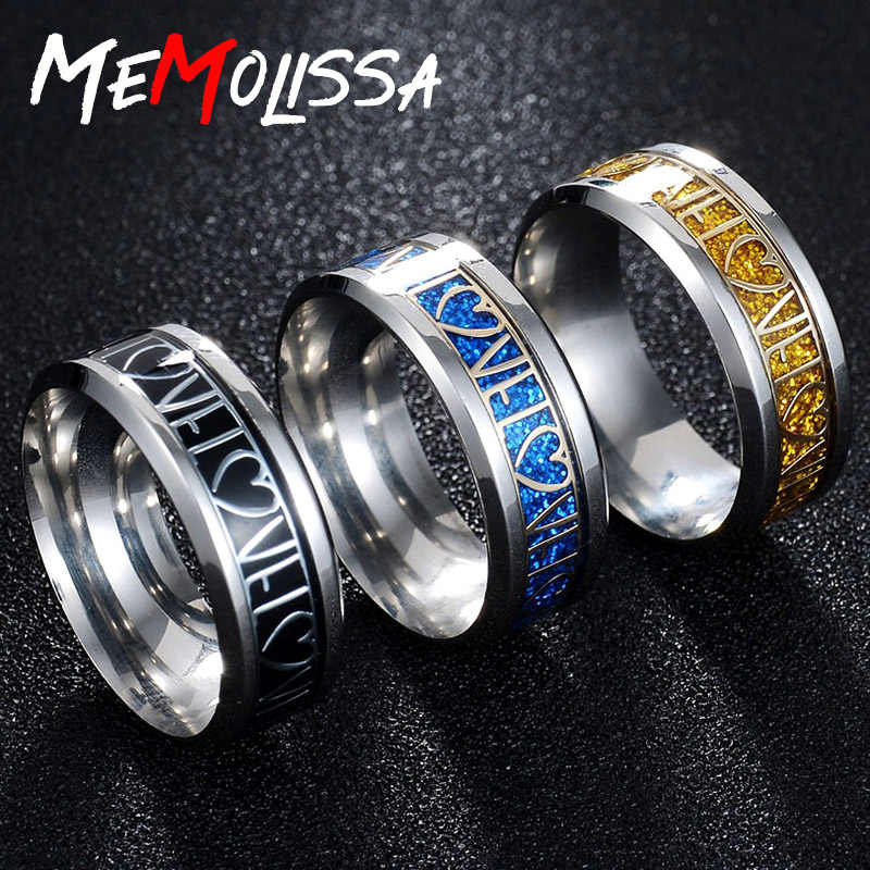 MeMolissa Trendy Frosted Finger Ring LOVE Engraving Ring Multicolor Stainless Steel Rings Fine Craft Exquisite Gift for Lovers