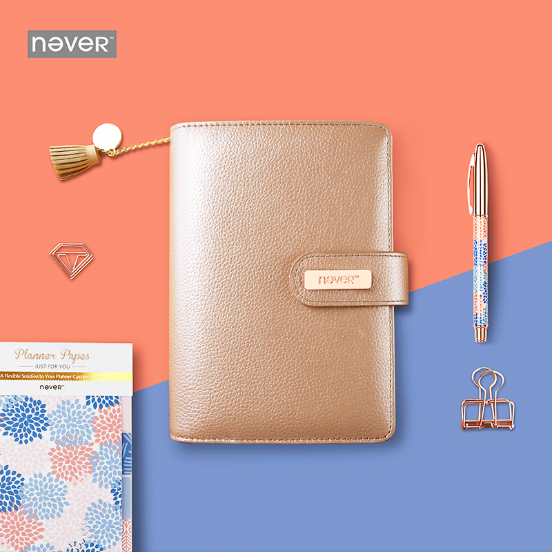 2018 Yiwi Never A6 Orange Gold Spiral Planner Personal Agenda Organizer Binder Diary Weekly Notebook never sweet pink diary a6 spiral notebook agenda 2018 personal weekly planner chancellory school supplies korean gift stationery
