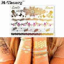 M-Theory Metallic Gold Temporary Tatoos Body Arts Lace Choker Flash Tattoos Sticker 21x15cm Henna Tatto Swimsuit Bikini Makeup