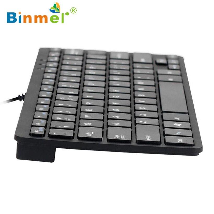 Binmer 2017 New Ultra Thin Slim 78 Key Wired USB Mini PC Keyboard for PC Apple Mac Laptop Free shiping Sep 22 new sep