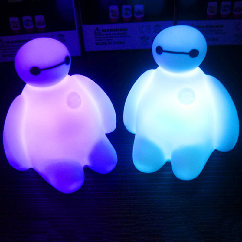 Baymax Action Figures Colorful Light Cute Table Bedroom Decoration Amazing Children Kids Girls Gift
