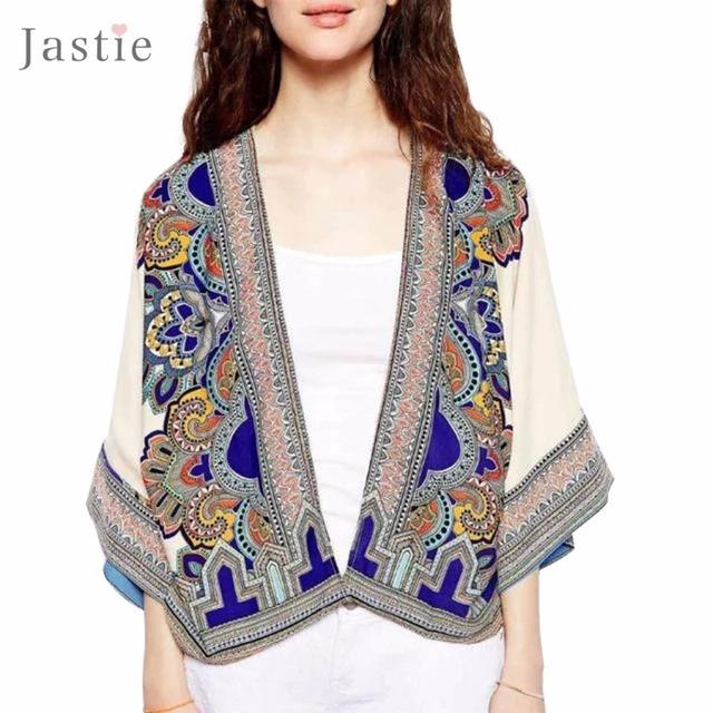 Las mujeres del otoño tops vintage étnico impreso kimono cardigan loose casual batwing mangas chaqueta de la capa poncho de boho blusas