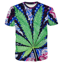 LiZhiYang High quality Cool T-shirt Men or Women hot 3d Tshirt Print Green leaves Short Sleeve Summer Tops Tees free shipping