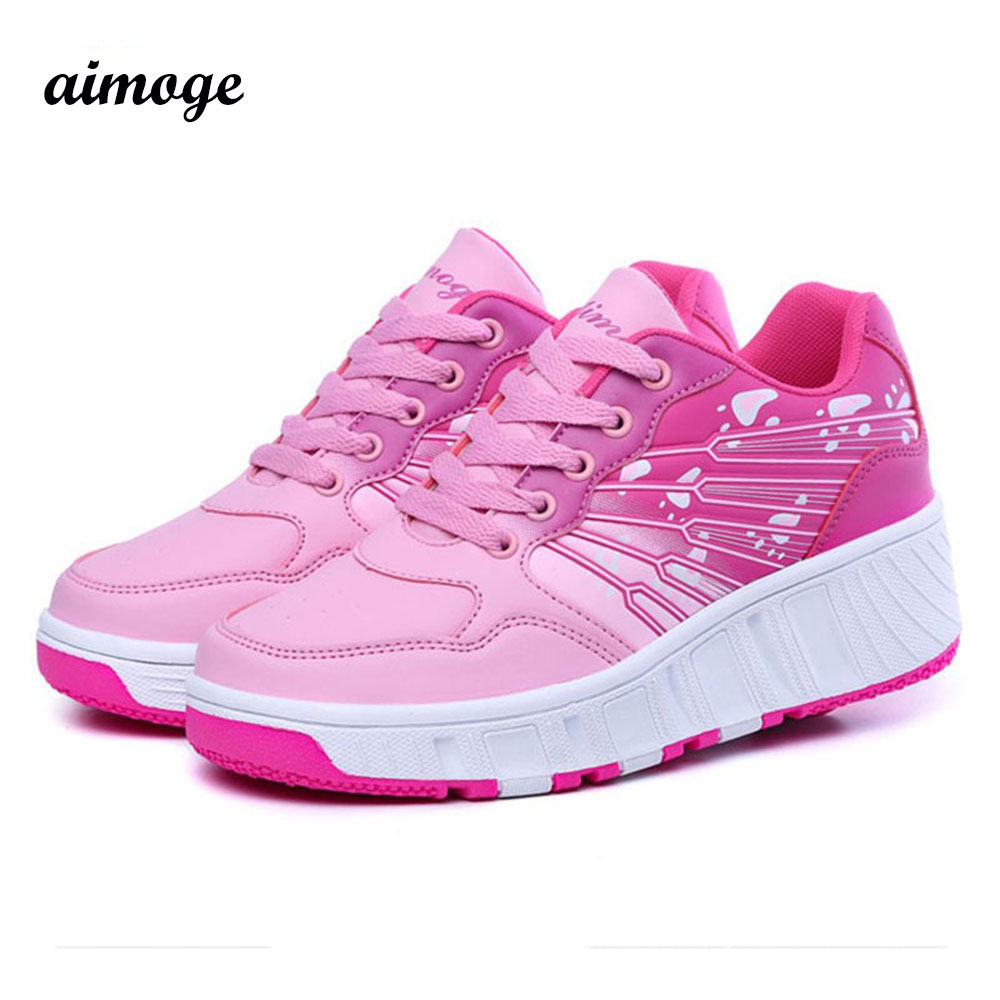 shoe Children Shoes Sneakers Wheel one Roller PU leather Girl Skates Kids Zapatillas Con Ruedas - Your Brand Style store