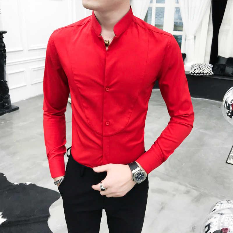 セクシーなユニークなスタンド襟シャツ黒赤白スリムフィット長袖カミーサソーシャル Masculina 男性ドレスデザイナーシャツ