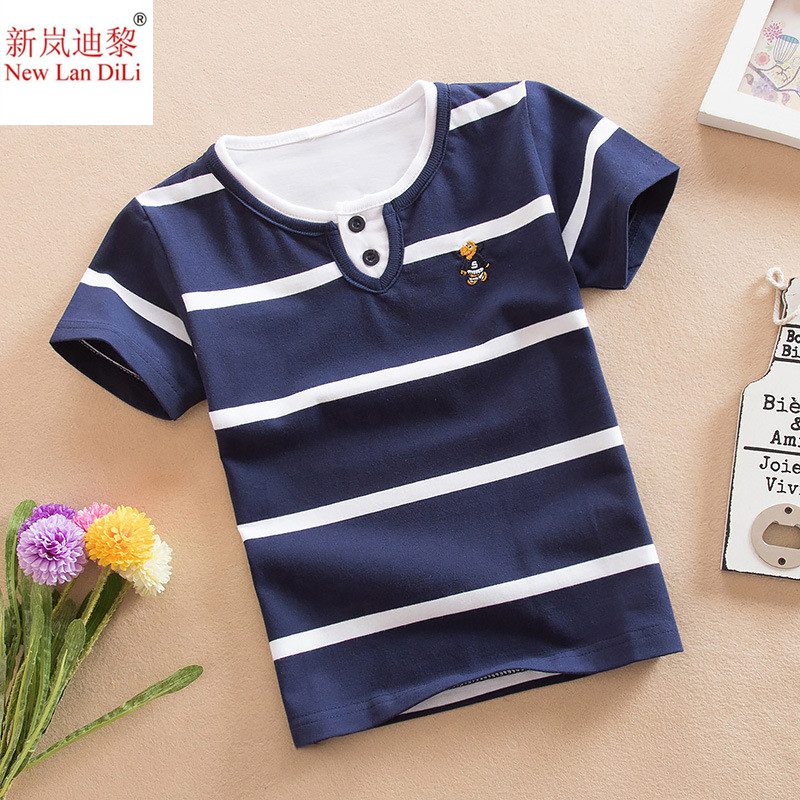 High Quality Baby Boy T-shirt Summer Multicolor Stripe Short Sleeve T-shirt Rainbow Collar Sports Casual Summer Boy T-shirt