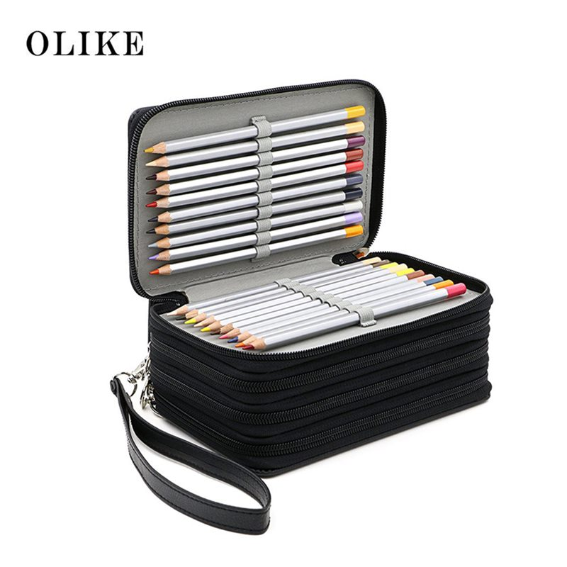 Pu Leather  72 Holder  Pencil Case Bag Pouch Storage For Colored Pencils Watercolor Sketch  Art Students With Zipper