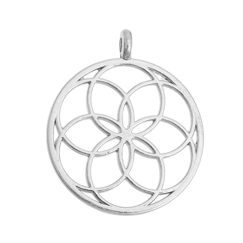 US $1 84 18% OFF|DoreenBeads Flower of Life Alloy Seed Of Life Pendants  Round gold color silver color Hollow 35mm(1 3/8