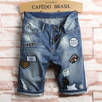 New summer men denim jeans shorts straight hole Europe slim distressed fashion hip hop patches plus size male short trousers