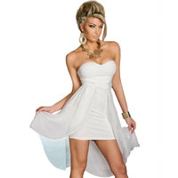 Wendywu Fashionable Women Solid White Sexy Strapless Party High Low Chiffon Dress