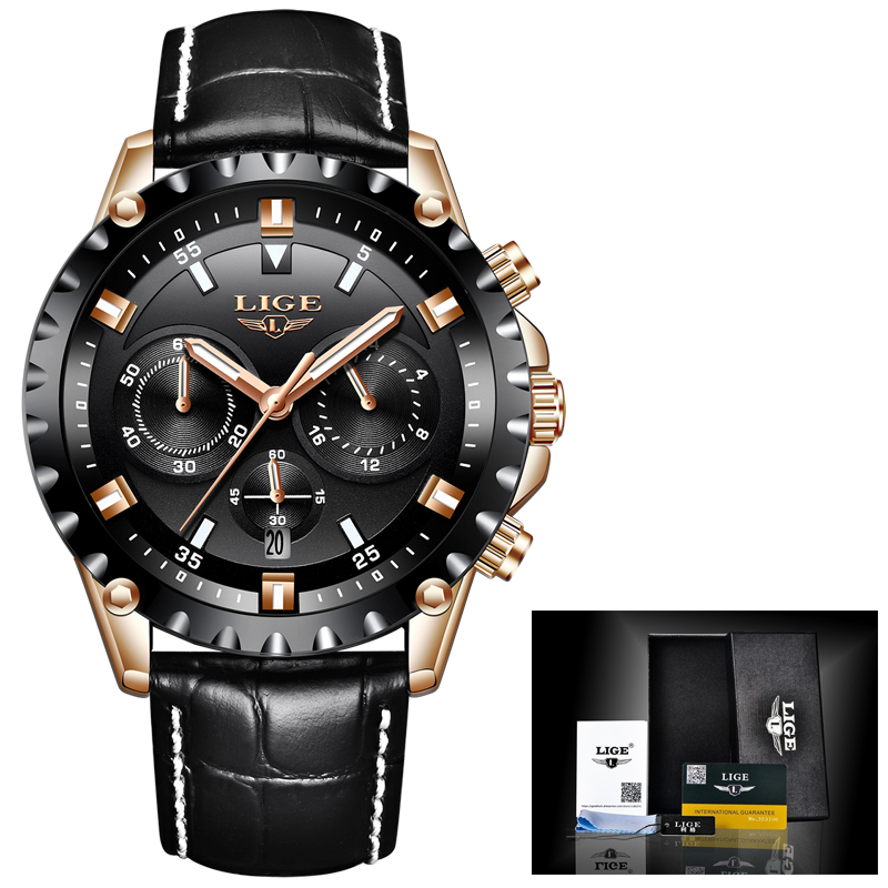 LIGE Top Brand Luxury chronograph function Military Sports Watch