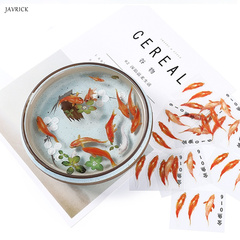 5/10Pc 3D Green Leaf Real Goldfish Clear Water Grass Film Sticker For Resin Goldfish DIY Painting Jewelry Making Accessories