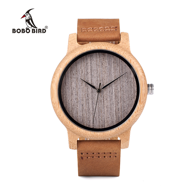 BOBO BIRD WA18L10 Vintage Lightweight Round Bamboo Wood Quartz Watches With Leather Bands for Women Men watches top brand design 3