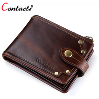 CONTACT'S Genuine Crazy Horse Leather Wallets Men Purse Male Wallet Small Short Walet Money Bag Credit Card Holder Vintage Rivet