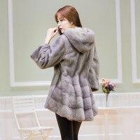 Mink Coat Whole Mink Coat Long Women Hooded Mink Fur Outwear