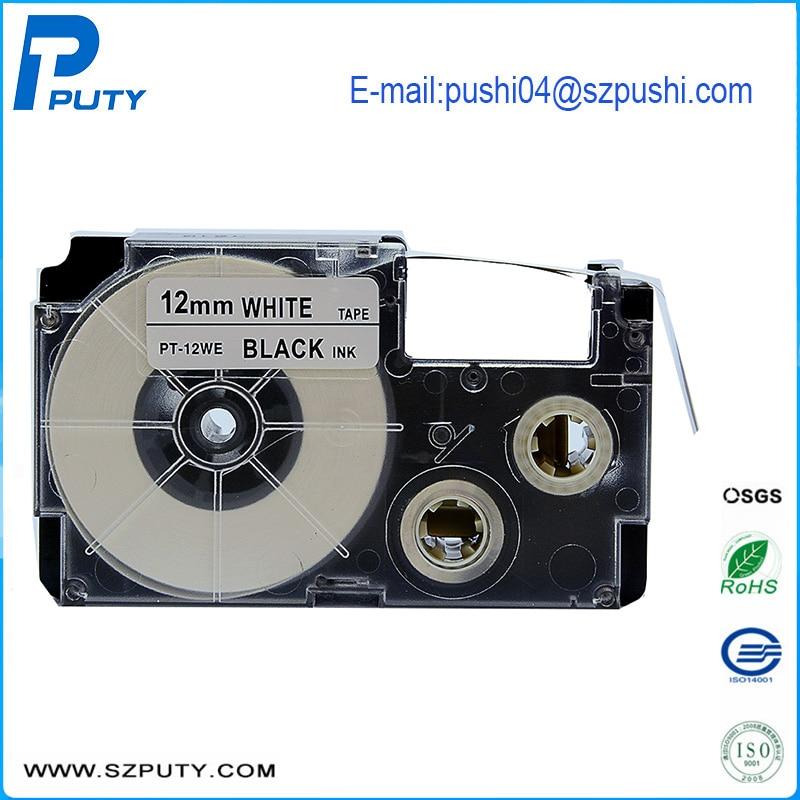 Compatible 12mm Black on White Tape Cartridge XR-12WE XR-12WE1 for EZ-label Printer CW-L300