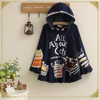 Japanese Preppy cartoon cute Cloak letter cat doodle loose bat sleeved coat women Teenagers girls autumn tops