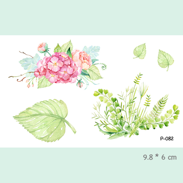 Watercolor Flower Waterproof Temporary Tattoo Stickers For Adults Kids Body Art Fake Tatoo For Women Men Tattoos P-082