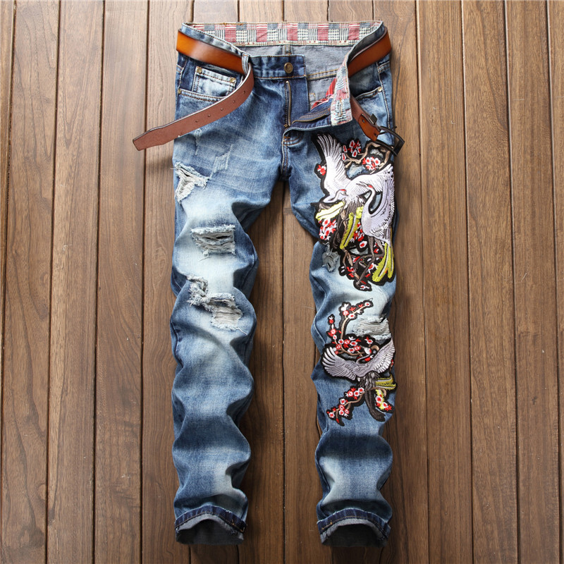 Fashion designer slim straight punk pants light blue destroyed jeans men embroidery with cranes flowers kot pantolon erkek cool