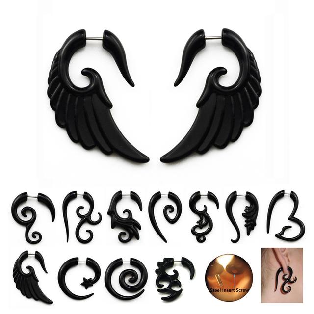 Acrylic Black Spiral Ear Expander
