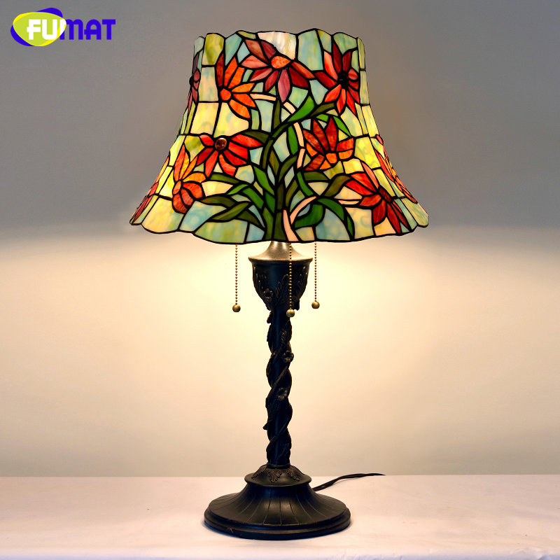 fumat table lamp vintage stained glass light fixtures flower lampshade lampe living room hotel. Black Bedroom Furniture Sets. Home Design Ideas