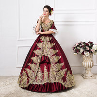 18th Century Royal Short Sleeve Square Collar Gold Embroidered Victorian Period Party Dress Southern Belle Performance Dresses