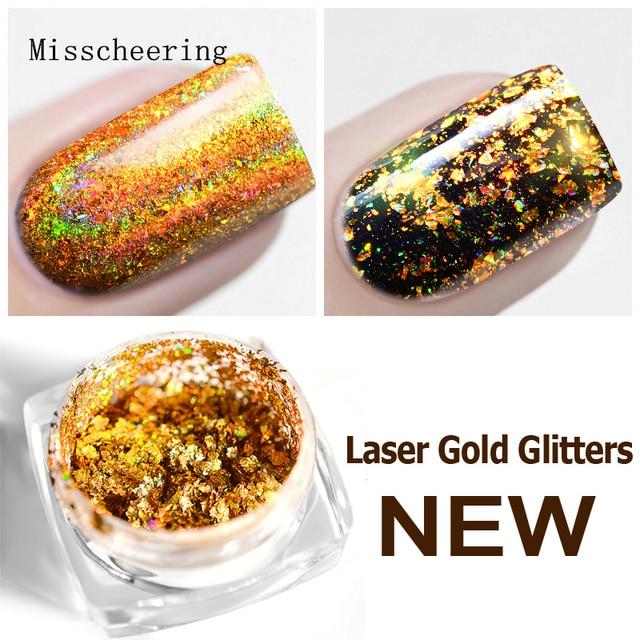 0.2g 1Box Laser Gold Nail Art Glitter Galaxy Flakes Magic Mirror Effect Holographic Sequin Powder DIY Chrome Pigment Decorations