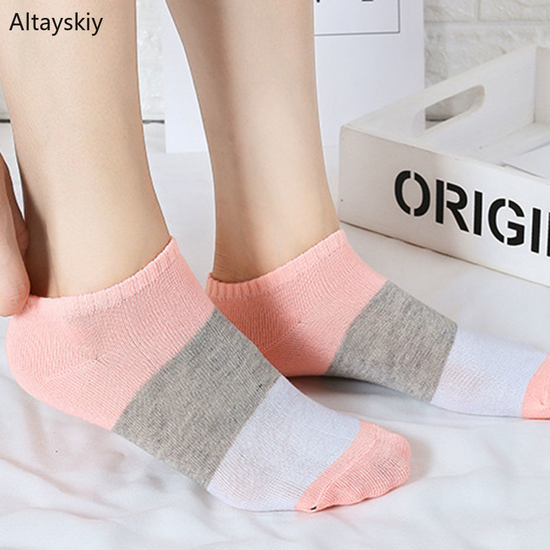 Socks Women 2020 Soft Striped Casual Deodorant Breathable Korean Style Short Sock Harajuku Womens Cute Lovely Simple Trendy Chic