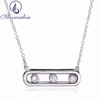 Slovecabin Vintage 925 Sterling Silver Women Choker Necklace Female Long Move Stone Chain Necklaces Pendant Silver