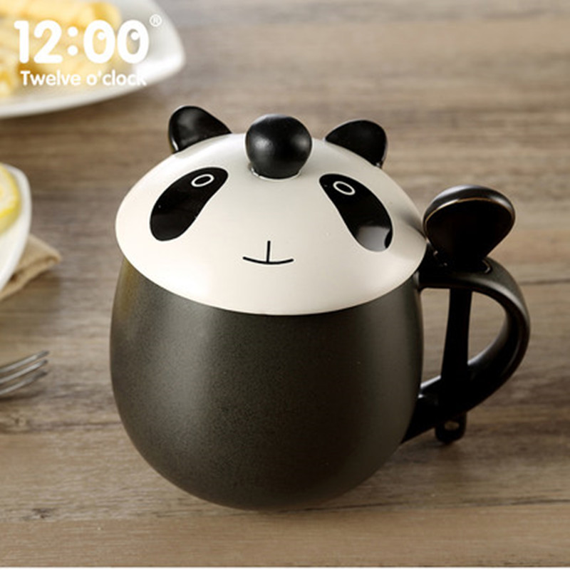 Kawaii Cartoon Panda Mugs ceramic cup with spoon lid water bottles coffee mugs milk mugs tea cups Drinkware Best Lovers Gifts