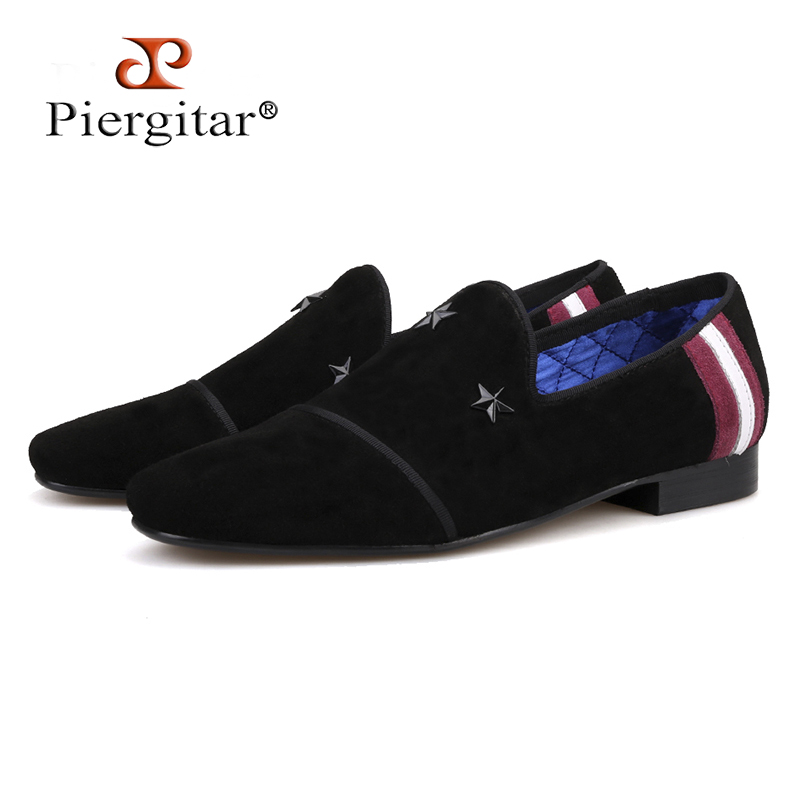 Piergitar 2018 Handmade Men Suede Loafers with star metal designs Fashion Party and Prom Men Casual Shoes smoking slippers piergitar 2017 new handmade men loafers with multi color design fashion party and show men s casual shoes male somking slippers