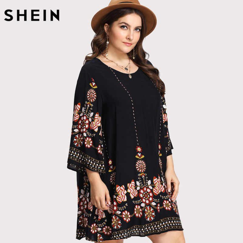 SHEIN Zwart Plus Size Bloemen Borduren Tuniek Jurk Lente Zomer Elegante Grote Maten Tribal Flower Print Vocation Dress