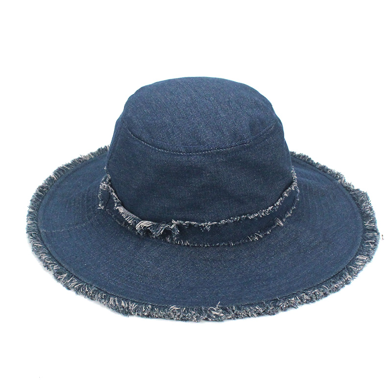 bcc68b8ffbe Girl Wide Brim Bucket Hat Casual Washed Cowboy Solid Navy Flat Top ...