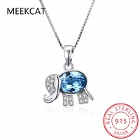 MEEKCAT 925 Sterling Silver Elephant Pendant Necklace Cute Animal Statement Chain Neckalce For Women Collares Jewelry