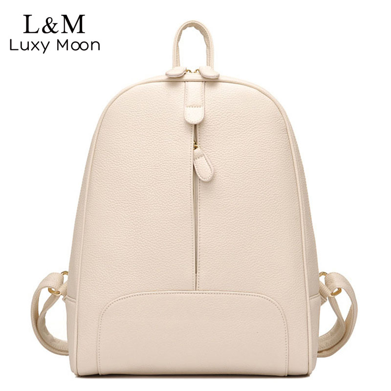 Solid Color Women Backpack Black Backpacks For Teenage Girls White High Quality PU Leather Bag Fashion Rucksack New mochila XA3H