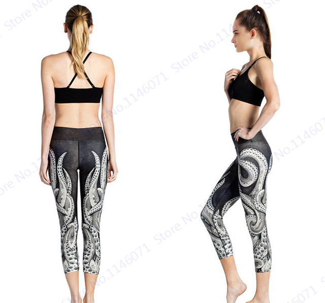 84c84167147d2 White Octopus Running Capris Tights Black Sexy Slimming Gym Sports Pants  High Waist Compression Fitness Dance Yoga Trouser Femme. Price: