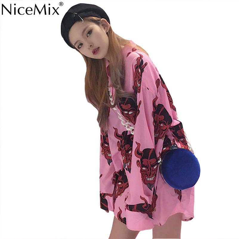 NiceMix Harajuku Blouse Women Gothic Shirt Print Japanese Devil Plus Size Womens Tops And Blouses Blusas Femininas De Verao 2019 in Blouses amp Shirts from Women 39 s Clothing