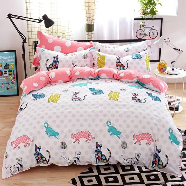 Girls Kitty Cat Print Bedding Cotton Kids Bed Linen Online Cheap Bedding  Twins Queen King Size