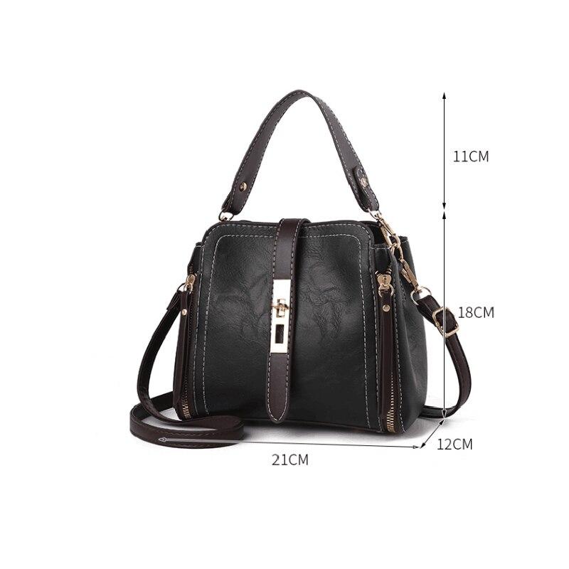 Hot Sale Vintage Leather Ladies HandBags Women Messenger Bags Tote zipper Designer Crossbody Shoulder Bag Boston Clutch Bag in Shoulder Bags from Luggage Bags