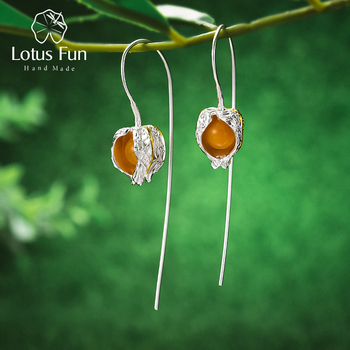 Lotus Fun Real 925 Sterling Silver Earrings Natural Stone Fine Jewelry Design Physalis Fruits Dangle Earrings for Women Brincos