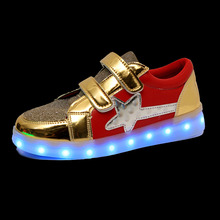 Yeafey Golden Vs Red Usb Charging Kid Shoes Glowing Luminous Sneakers LED Slippers Girls Shoes with Lights Infant Tenis Led Shoe