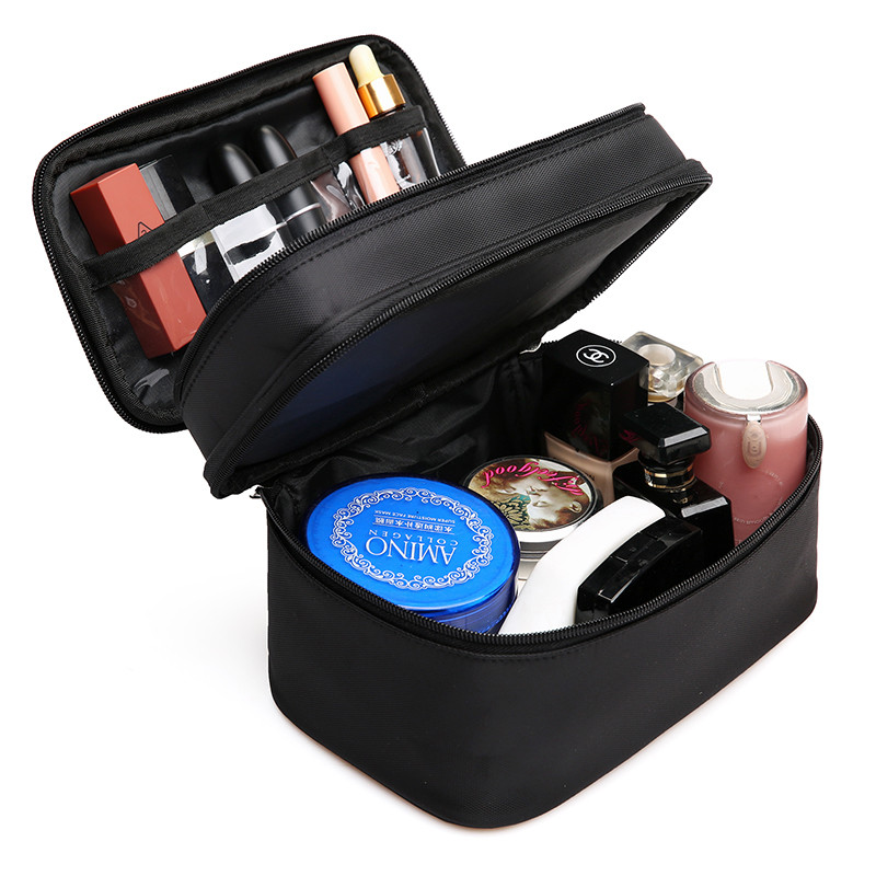 Women's Double Layer Cosmetic Bag Box Waterproof Oxford Makeup Case Travel Organizer Necessary Beauty Vanity Toiletry Wash Pouch