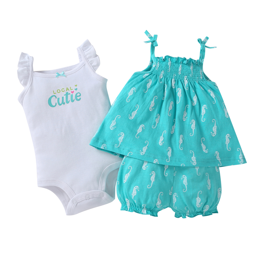 2018 Hot sale Baby clothes cotton Baby Clothing Set baby rompers Girls summer pattern Sets 3 pieces Free shipping