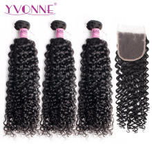 Yvonne Hair Malaysian Curly Natural Color 100% Virgin Human Hair 3 Bunter Med 4x4 Gratis Part Snøre Lukking Gratis frakt