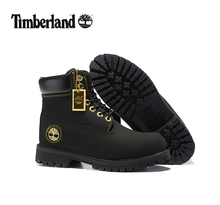 TIMBERLAND Men All Black Gold Metal Ankle Martin Motorcycle Boots,Man high-top Leather Spring Wearable Casual Walk Shoes 40-45