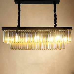 Image 2 - KINLAMS Modern Rectangular Lustre Crystal Chandelier Light Semiflush Mount Crystal Chandeliers Lighting Fixtures For Living Room