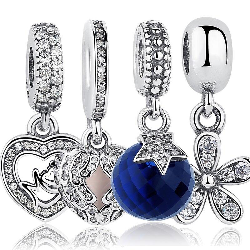 BISAER 925 Sterling Sølv Angel Wings Radiant Orchid Blændende Daisy - Mode smykker - Foto 3