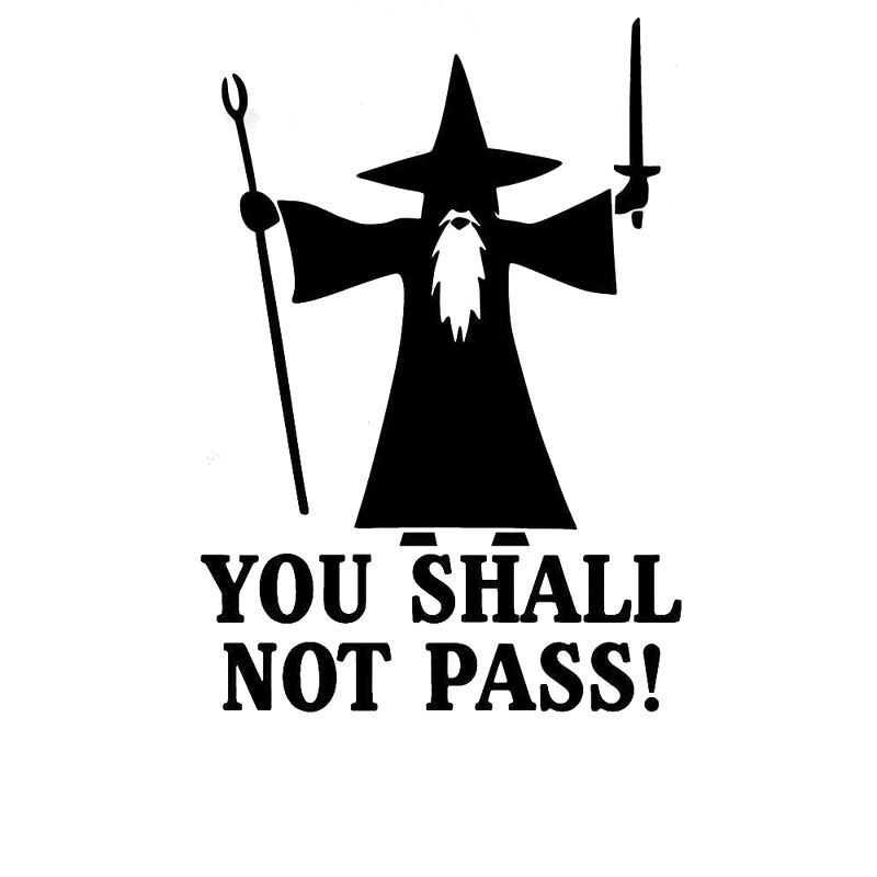 10.7CM*15.2CM You Shall Not Pass Anti Road Rage Gandolf Car Styling Decoration Personality Car Stickers Black Sliver C8-0766