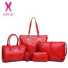 Yanxi caliente 6 en 1 diseñador de moda de lujo del cocodrilo de la pu satchel tote + hombro/mensajero + embragues bolsas compuestas bolsos de marca conjunto
