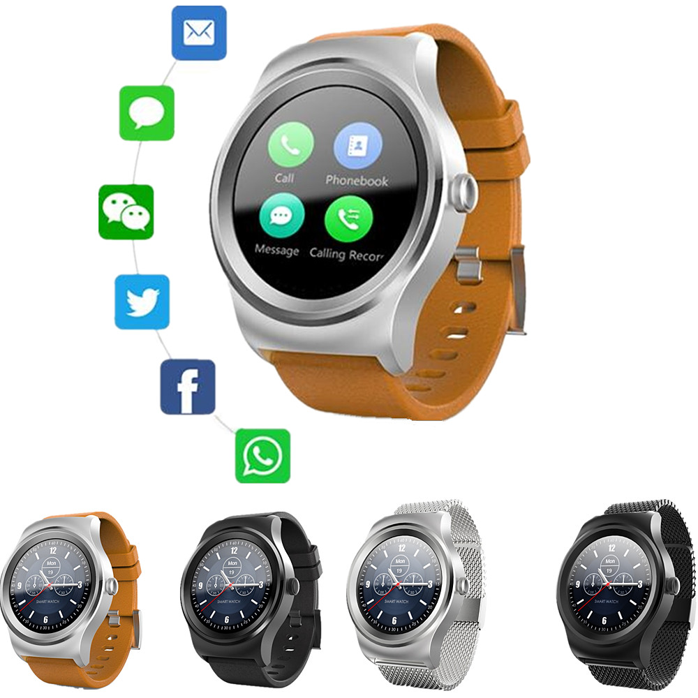 Smart 01 Leather Stainless Steel Strip Smart Watch Bluetooth Heart Rate Monitor Smart Touch Bracelet for